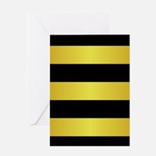 BLACK AND GOLD Horizontal Stripes Greeting Cards