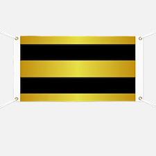 BLACK AND GOLD Horizontal Stripes Banner