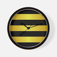 BLACK AND GOLD Horizontal Stripes Wall Clock