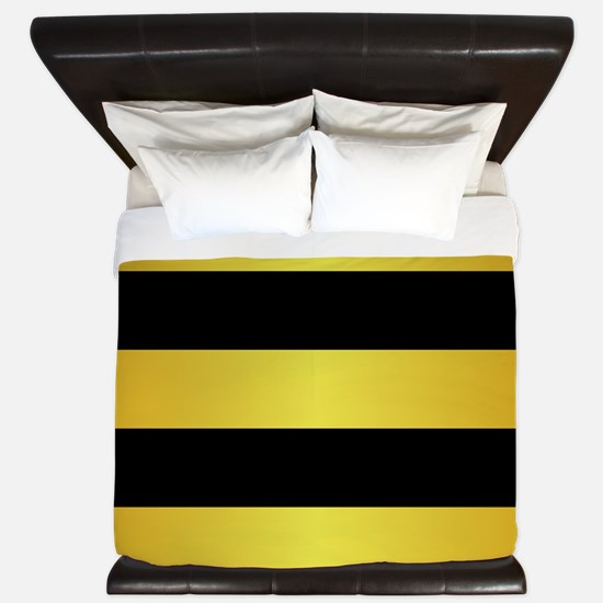BLACK AND GOLD Horizontal Stripes King Duvet
