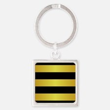 BLACK AND GOLD Horizontal Stripes Keychains
