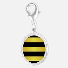 BLACK AND GOLD Horizontal Stripes Charms