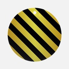 BLACK AND GOLD Diagonal Stripes Ornament (Round)