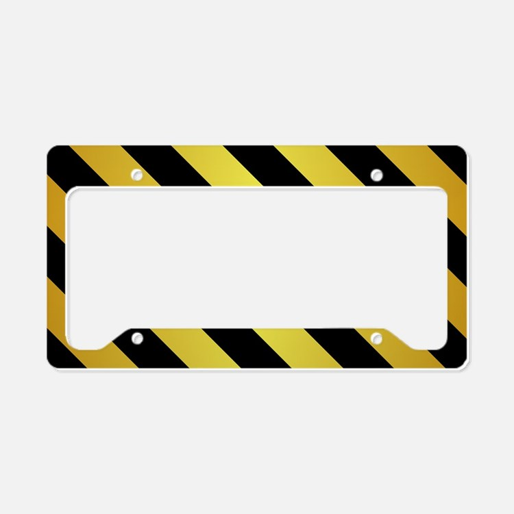 BLACK AND GOLD Diagonal Stripes License Plate Hold