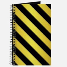 BLACK AND GOLD Diagonal Stripes Journal