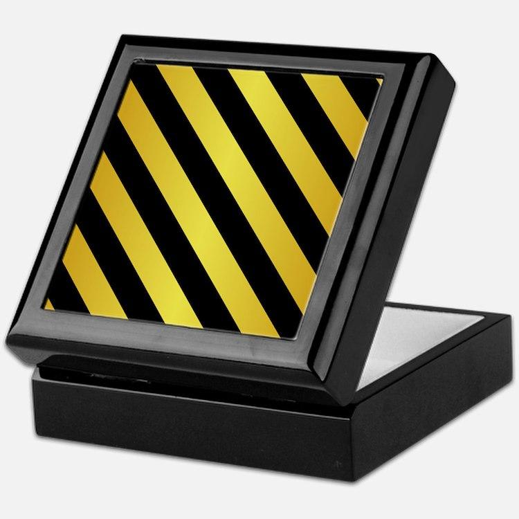 BLACK AND GOLD Diagonal Stripes Keepsake Box