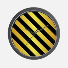 BLACK AND GOLD Diagonal Stripes Wall Clock
