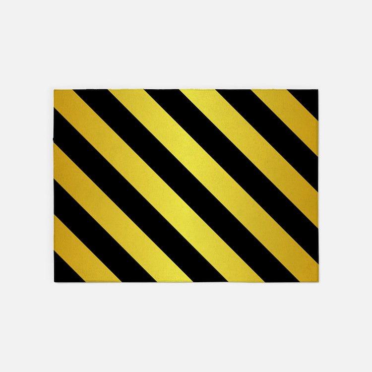 BLACK AND GOLD Diagonal Stripes 5'x7'Area Rug