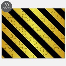 BLACK AND GOLD Diagonal Stripes Puzzle