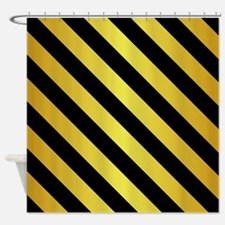 BLACK AND GOLD Diagonal Stripes Shower Curtain