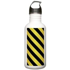 BLACK AND GOLD Diagonal Stripes Water Bottle