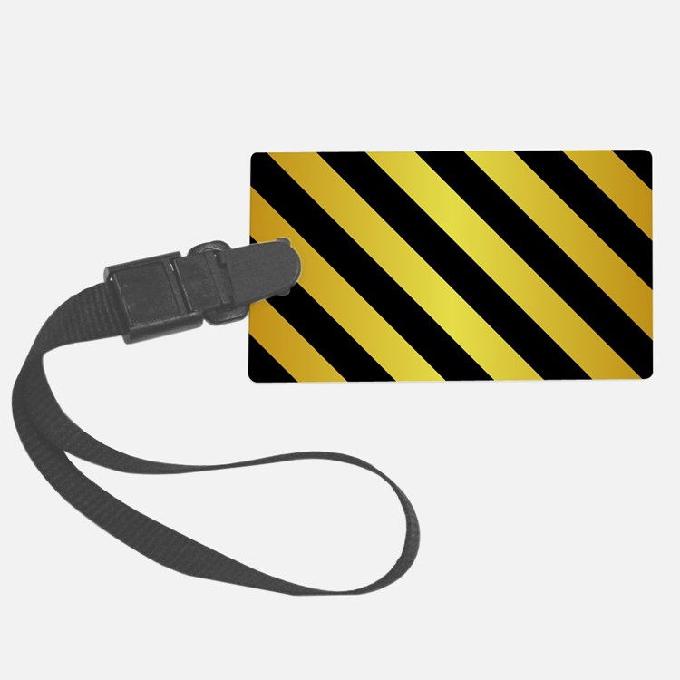 BLACK AND GOLD Diagonal Stripes Luggage Tag