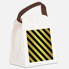 BLACK AND GOLD Diagonal Stripes Canvas Lunch Bag