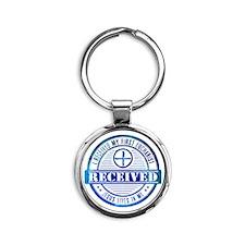 Received First Communion Blue Round Keychain