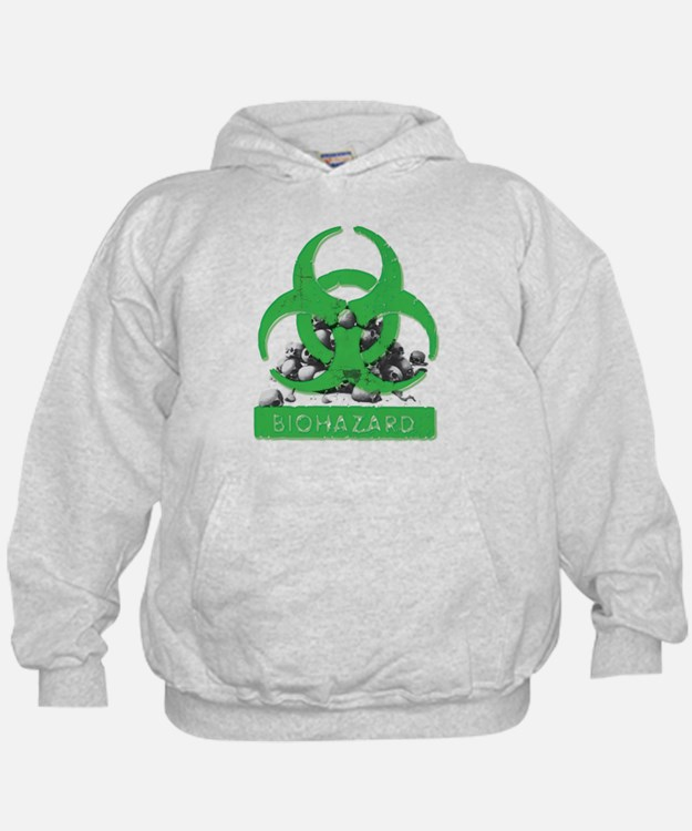 BioHazard Sign and Skulls Hoodie