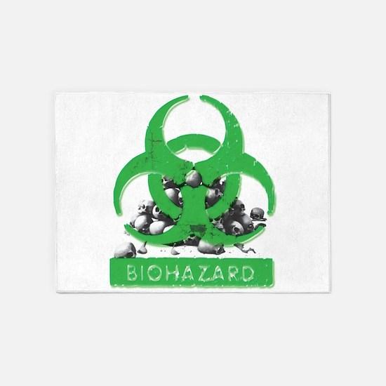 BioHazard Sign and Skulls 5'x7'Area Rug