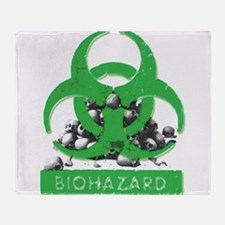 BioHazard Sign and Skulls Throw Blanket
