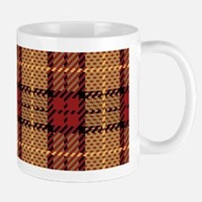 Red-Gold Pixel Plaid Mugs