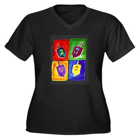 Four Dreidels Women's Plus Size V-Neck Dark T-Shir