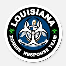 Louisiana Zombie Response Team Wh Round Car Magnet