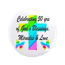 GOD LOVING 50TH Button