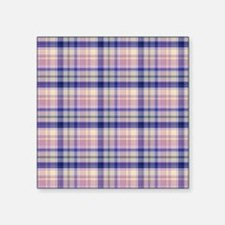 Pink and blue plaid Sticker
