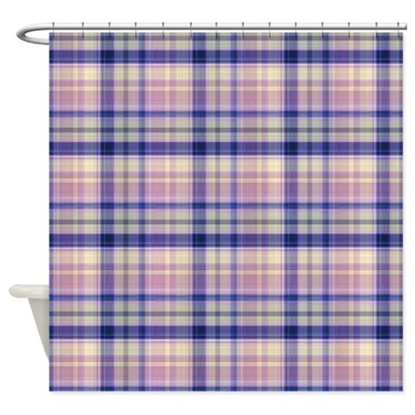 pink and blue plaid shower curtain