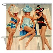 Retro Sunbathers Trio Shower Curtain