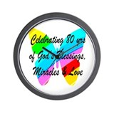 80th birthday women Wall Clocks