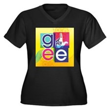 Glee Colorfu Women's Plus Size V-Neck Dark T-Shirt