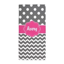 Gray Pink Dots Chevron Personalized Beach Towel
