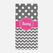 Gray Pink Dots Chevron Personalized Beach Towel