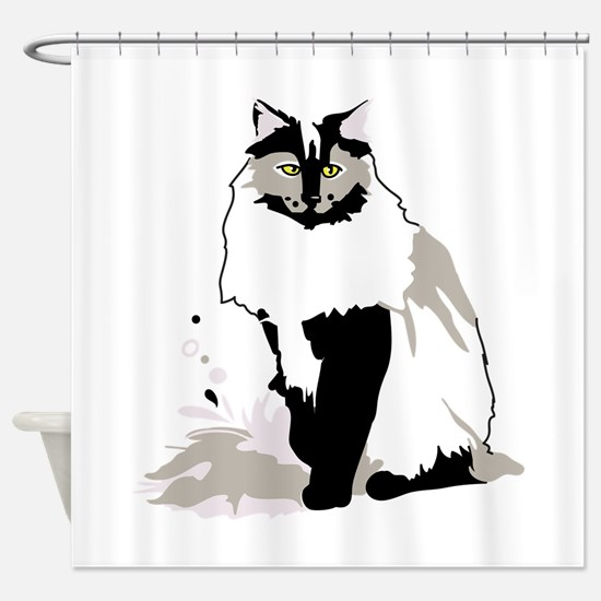 Norwegian forest cat Shower Curtain