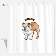 bulldog with text Shower Curtain