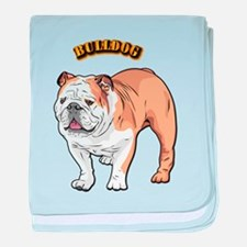 bulldog with text baby blanket