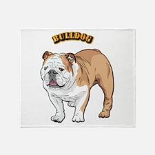 bulldog with text Throw Blanket