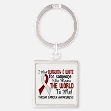 Throat Cancer MeansWorldToMe2 Square Keychain