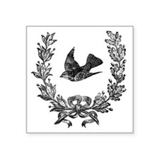 "vintage sparrow bird and bo Square Sticker 3"" x 3"""