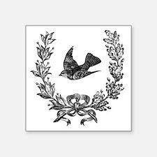 "vintage sparrow bird and bo Square Sticker 3"" x 3"""