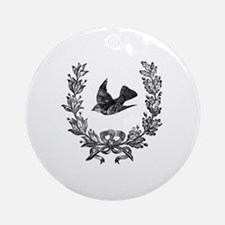 vintage sparrow bird and bow floral Round Ornament