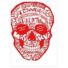 Red Rad Skull Poster