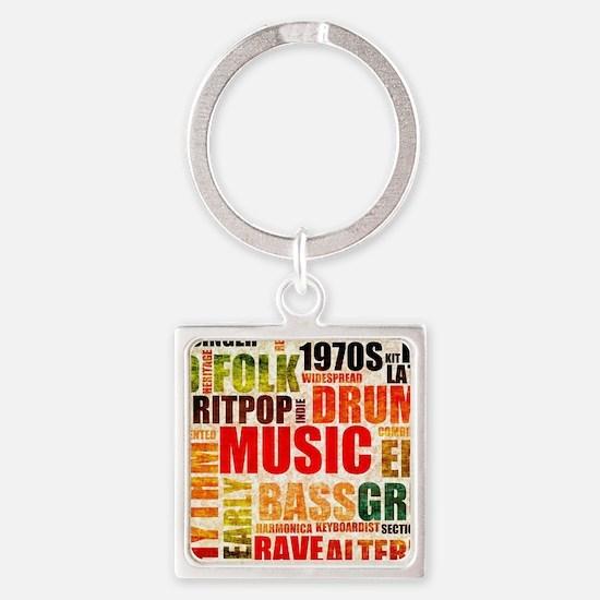 Music Genre Types Square Keychain