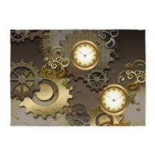 Steampunk, clocks and gears 5'x7'Area Rug