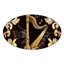 Music, golden harp with decorative floral elements