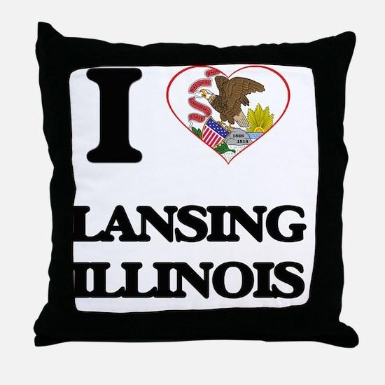 I love Lansing Illinois Throw Pillow