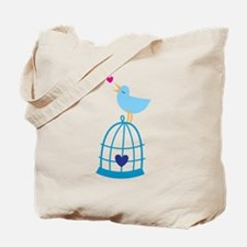 Pretty Bluebird on a cage singing Tote Bag