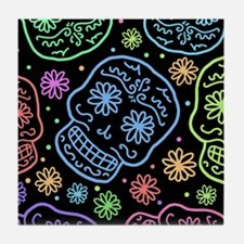 Colorful Sugar Skull Pattern Tile Coaster