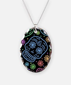 Colorful Sugar Skull Pattern Necklace
