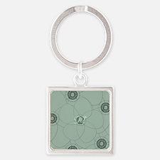 Vintage Green Flower Square Keychain