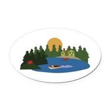 Lake House Oval Car Magnet